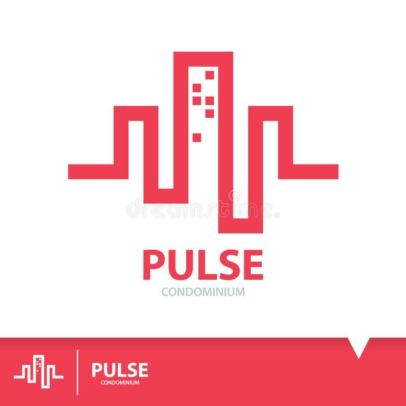 Pulse condominium icon symbol. Abstract red pulse in condominium shape. Logo elements template design. Real estate symbols icon. Vector illustration stock illustration