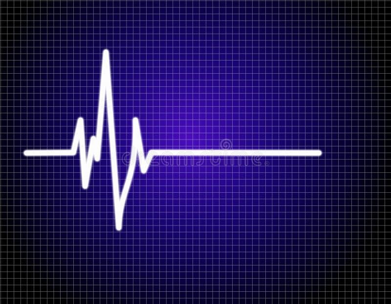 Pulse EKG (ECG). Single pulse blue EKG (ECG royalty free illustration
