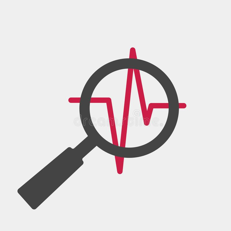 Pulse And Glass Magnifier Vector Illustration  Heartbeat