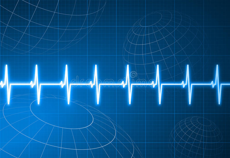 Pulse heart rate with wire frame globes background vector illustration