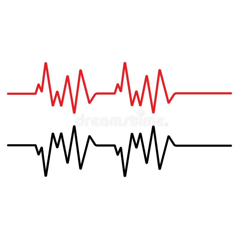 Pulse line ilustration vector template red stock illustration