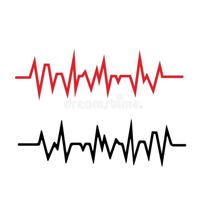 Pulse line ilustration vector template red. Pulse line ilustration vector template, activity, frequency, trace, rate, patient, stethoscope, illness, test stock illustration