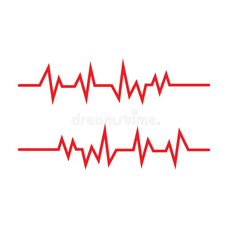 Pulse line ilustration vector template red. Pulse line ilustration vector template, activity, frequency, trace, rate, patient, stethoscope, illness, test vector illustration