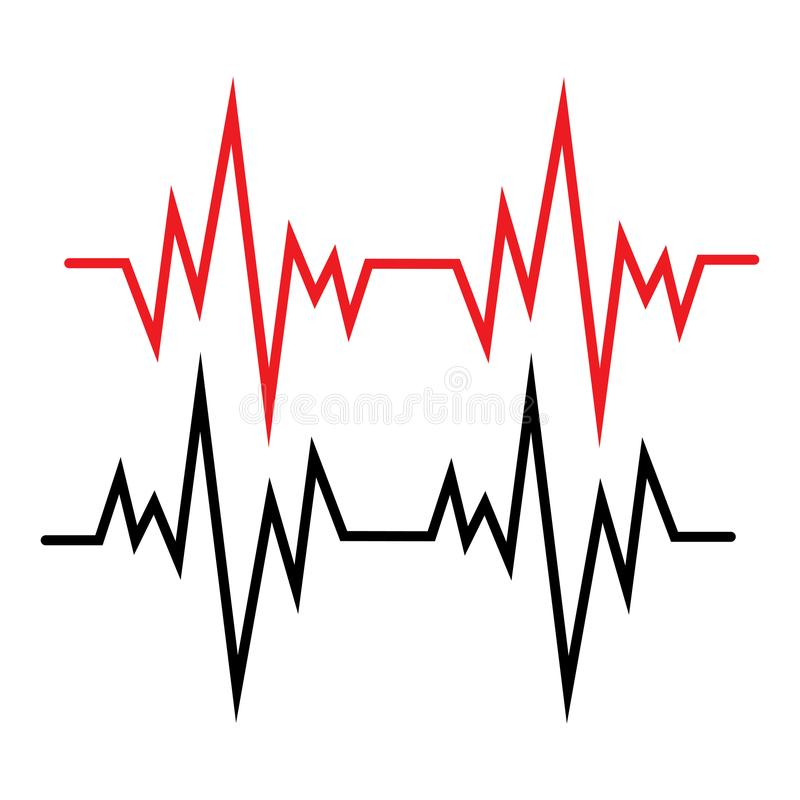 Pulse line ilustration vector template red. Pulse line ilustration vector template, activity, frequency, trace, rate, patient, stethoscope, illness, test royalty free illustration