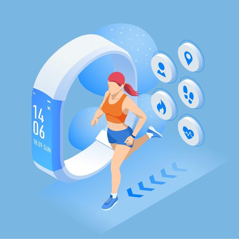Pulsera o perseguidor isom?trica con un smartphone, atleta de la aptitud que corre al aire libre Infographics que activa y corrie stock de ilustración