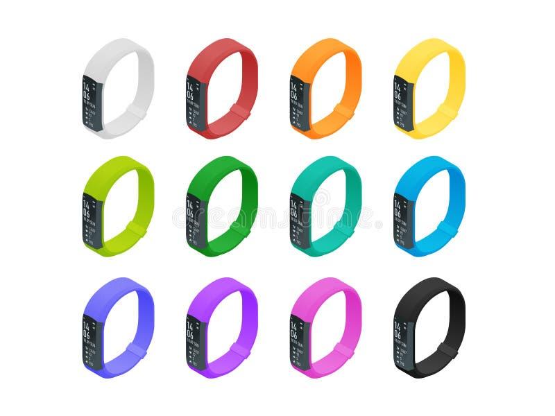 Pulsera o perseguidor isométrica de la aptitud con un smartphone aislado en blanco Accesorios de los deportes, una pulsera con el libre illustration