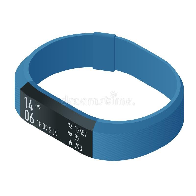 Pulsera o perseguidor isométrica de la aptitud con un smartphone aislado en blanco Accesorios de los deportes, una pulsera con el ilustración del vector