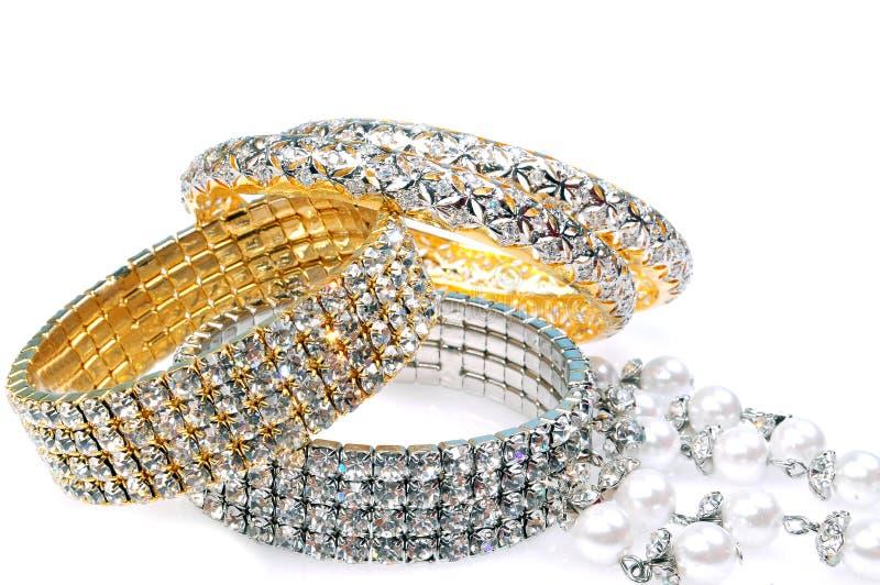 Pulseras del diamante foto de archivo libre de regalías