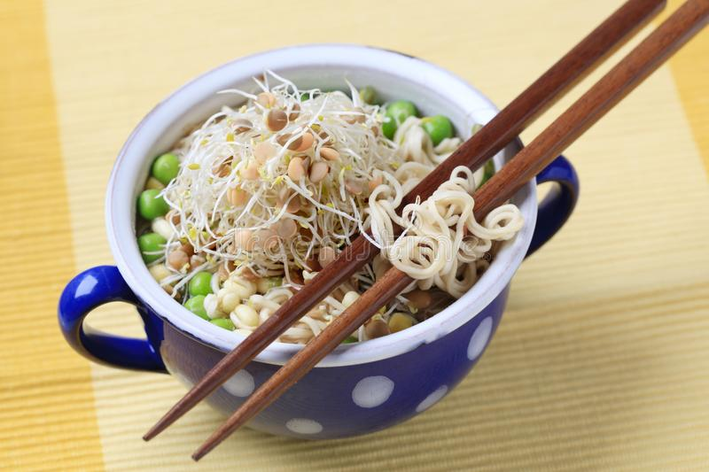 Pulses with noodles royalty free stock photo