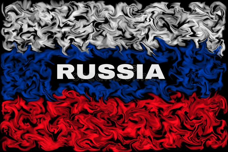 Flag of the Russia - Burning smeared color flag design. Pulsing color design - Russian Flag vector illustration