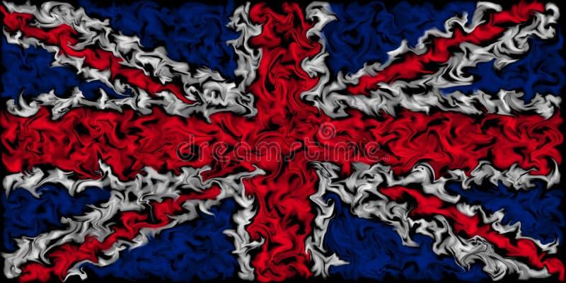 Union Jack Flag of the United Kingdom - Burning smeared color flag design. Pulsing color design - UK Flag vector illustration