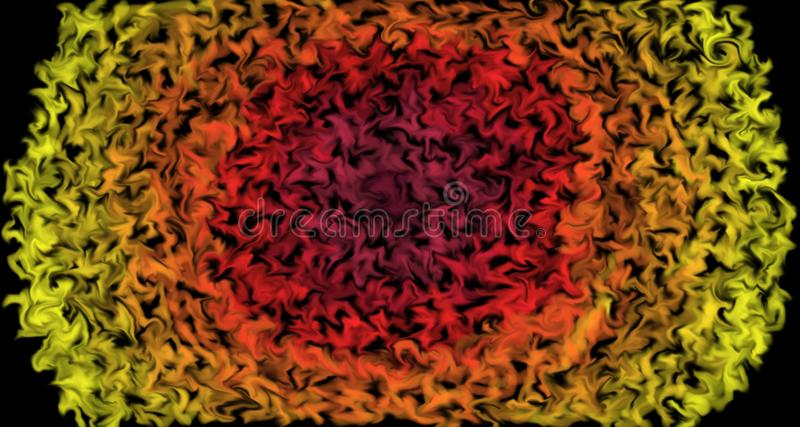 Pulsing colors moving outwards - Burning sun design with colors as flames. Abstract background, in red, orange and yellow. Pulsing colors moving outwards royalty free illustration