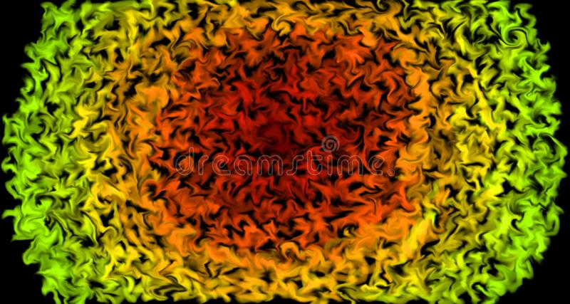 Pulsing colors moving outwards - Burning sun design with colors as flames. Abstract background, in red, orange and green. Pulsing colors moving outwards royalty free illustration