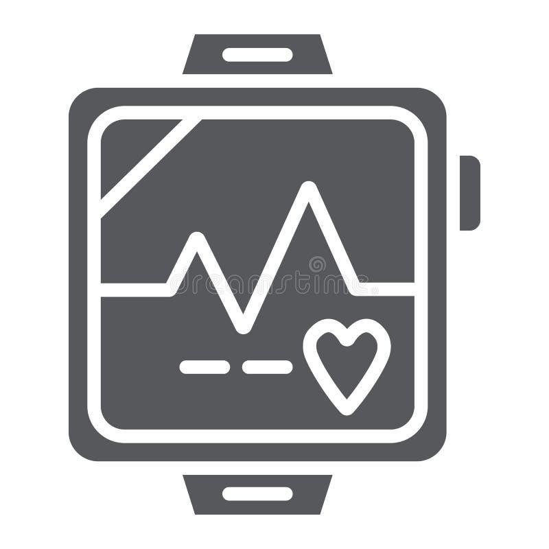 Pulsmesser Glyphikone, -herz und -herz, Herzschlagzeichen, Vektorgrafik, ein festes Muster auf einem weißen Hintergrund lizenzfreie abbildung