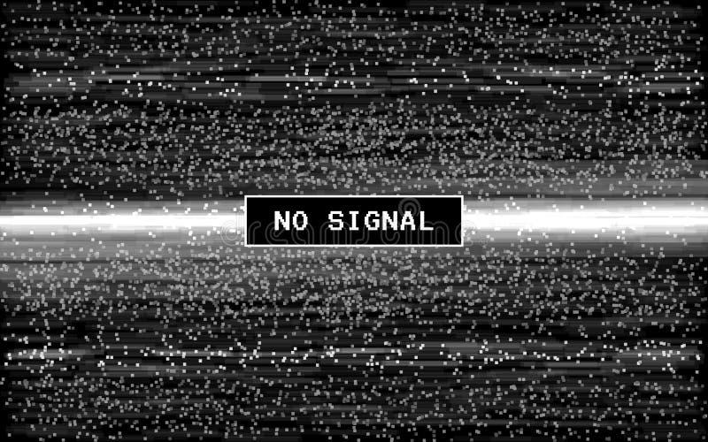 Pulso aleatório nenhum sinal Efeito retro de VHS Ruído digital do pixel no fundo preto Molde video velho Linhas ruído de Glitched ilustração royalty free