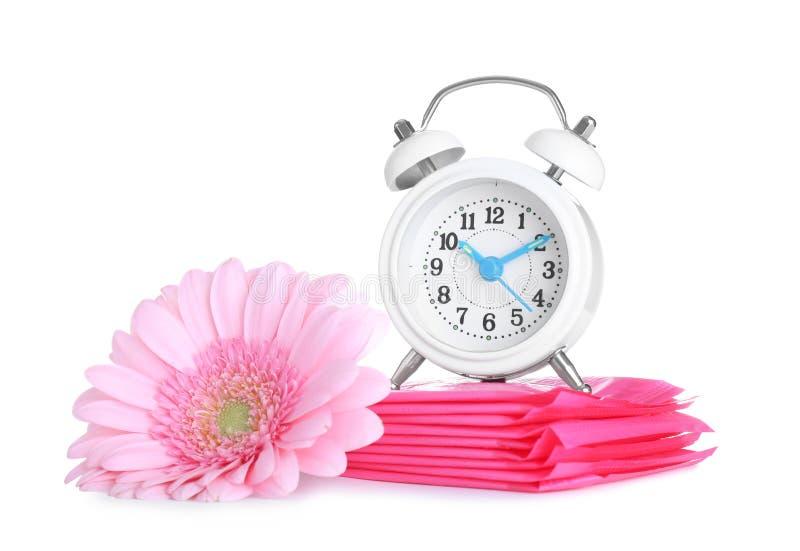 Pulso de disparo, almofadas menstruais e flor no fundo branco gynecology fotografia de stock royalty free