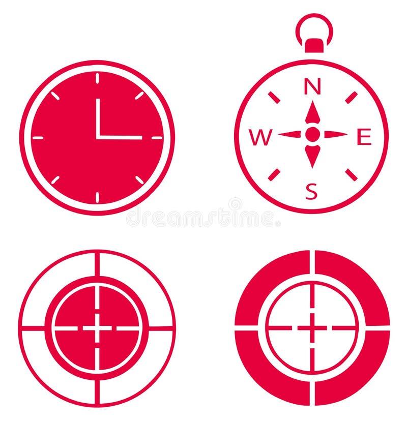 Pulso de disparo, compasso e finalidade ilustração stock