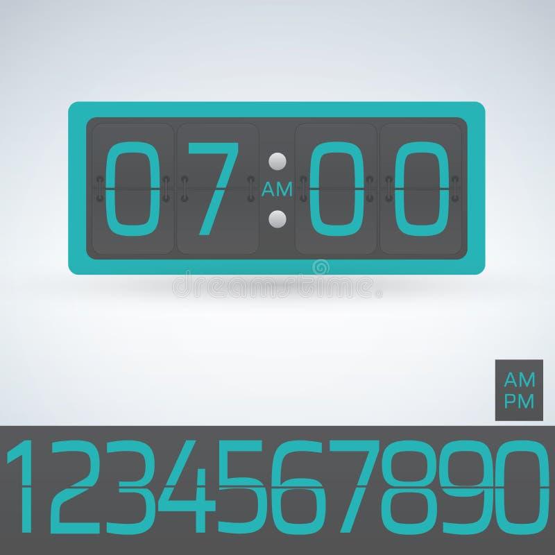 Pulso de disparo da aleta da parede ou da tabela, molde contrário do número, todos os dígitos prontos para uso ilustração stock