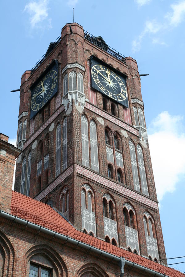 Pulso de disparo de Torun Town Hall fotografia de stock royalty free