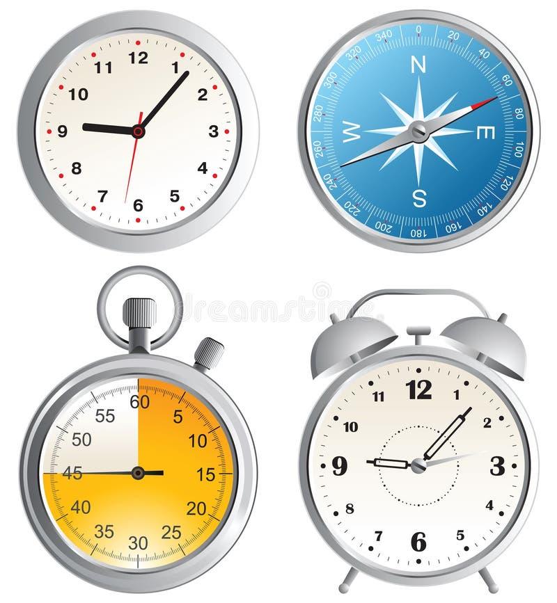 Pulso de disparo, despertador, compasso e cronômetro ilustração royalty free