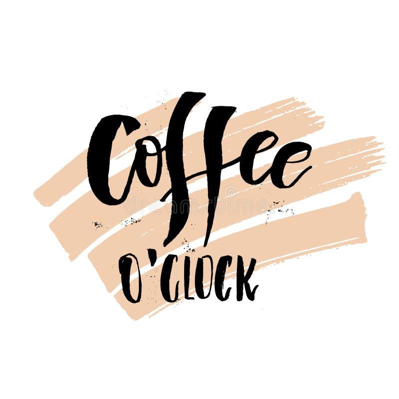 Pulso de disparo do ` do café o Segunda-feira de manhã citações escritas à mão engraçadas da rotulação ilustração royalty free
