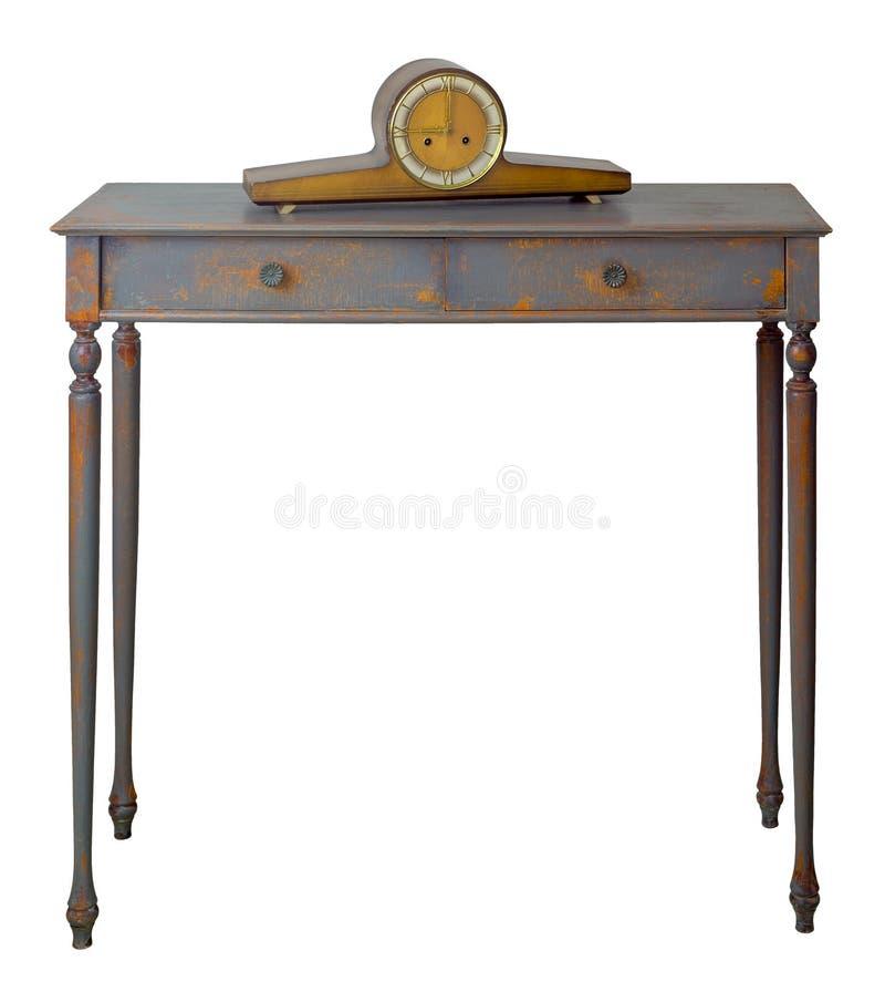 Pulso de disparo do desktop do estilo antigo na parte superior da tabela de madeira retro do vintage com as duas gavetas pintadas fotografia de stock royalty free