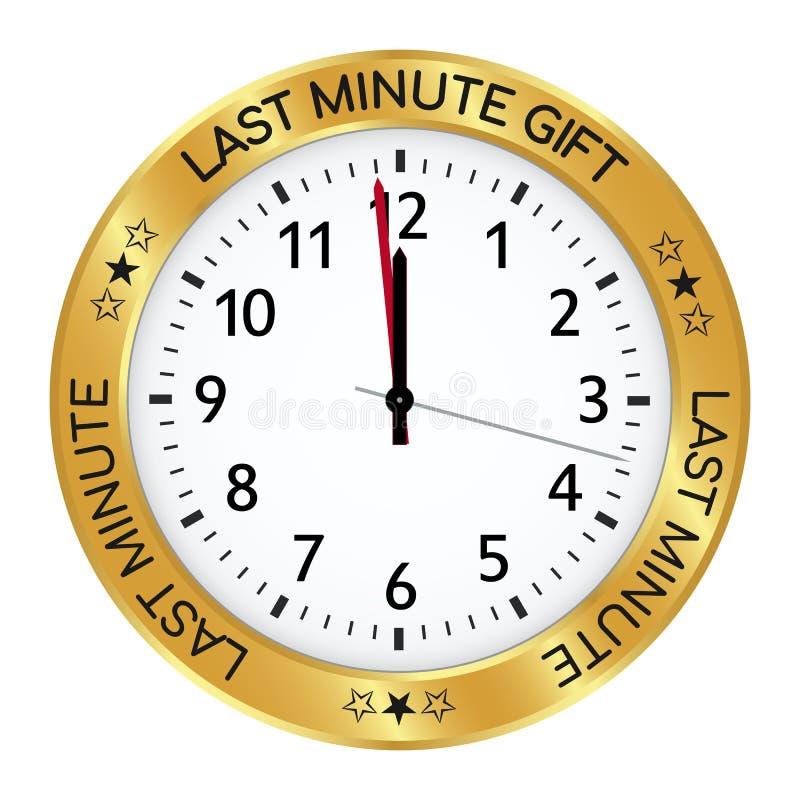 Pulso de disparo dourado Último presente minúsculo um minuto antes de doze ilustração do vetor