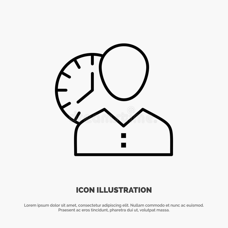 Pulso de disparo, horas, homem, pessoal, programação, tempo, sincronismo, linha de usuário vetor do ícone ilustração do vetor