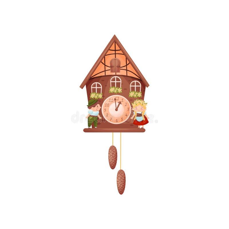 Pulso de disparo de parede na forma de uma casa Menino e menina em trajes escandinavos tradicionais na frente da casa Vetor ilustração do vetor