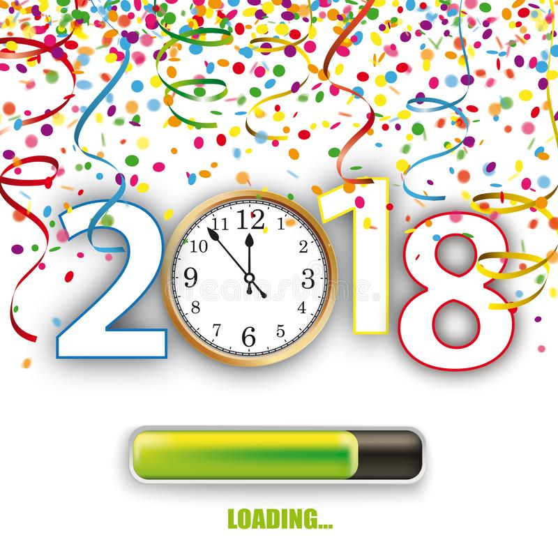 Pulso de disparo 2018 Silvester Confetti Ribbons de carregamento ilustração stock