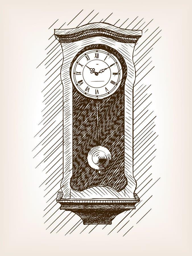 Pulso de disparo velho com vetor tirado mão do esboço do pêndulo ilustração stock