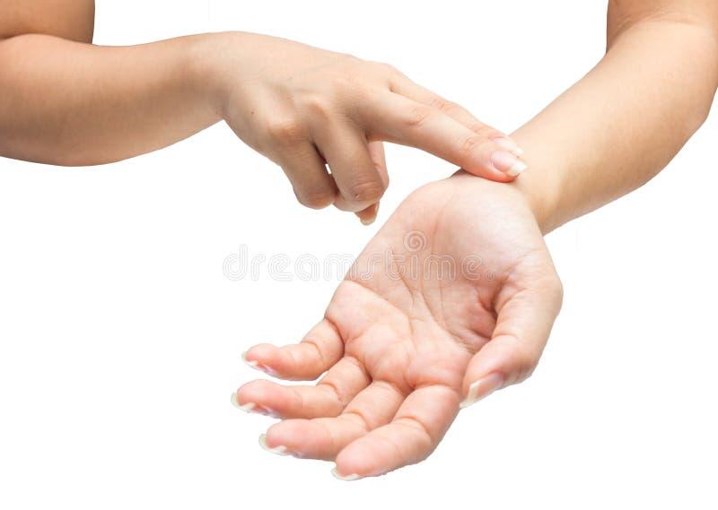 Pulso de medição do braço da mão humana isolado imagem de stock royalty free