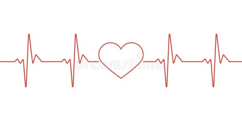 Pulso del corazón Colores rojos y blancos Latido del corazón solitario, cardiograma Atención sanitaria hermosa, fondo médico Dise stock de ilustración