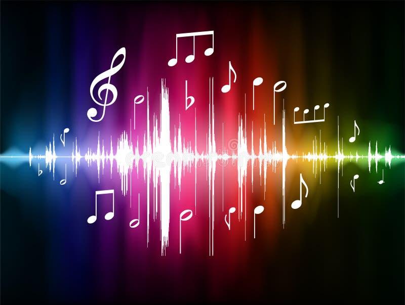 Pulso del espectro de color con las notas musicales stock de ilustración
