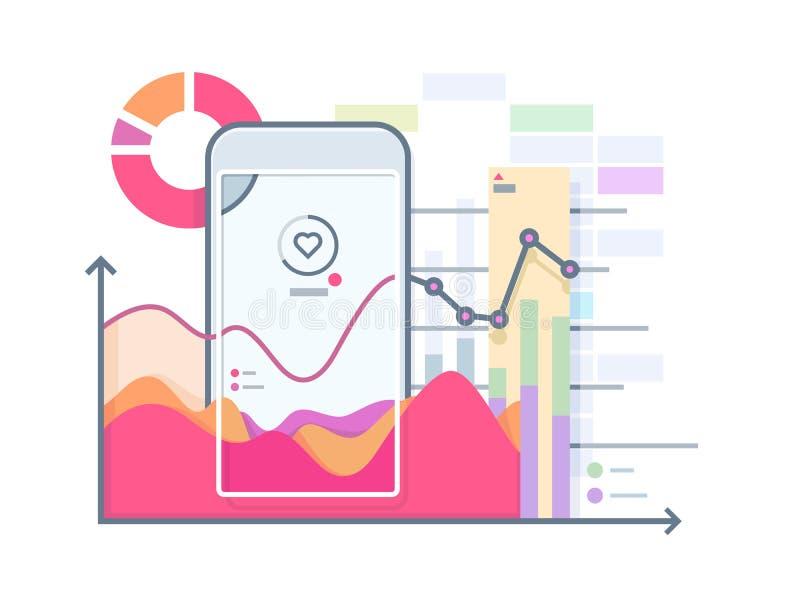 Pulso del horario en smartphone ilustración del vector