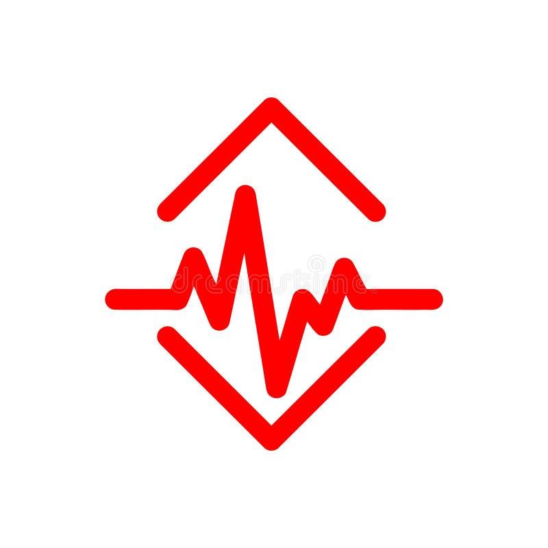 Pulso, pulsação do coração, taxa, coração, amor, ícone médico vermelho ilustração do vetor