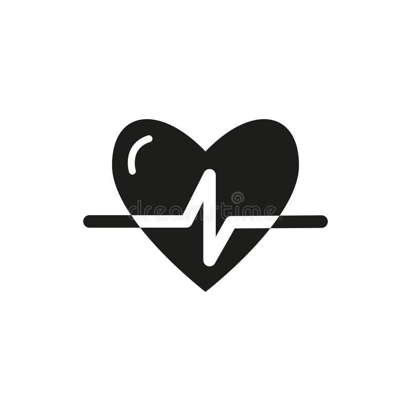 Pulso simples preto e branco do coração do ícone do vetor do esboço ilustração stock