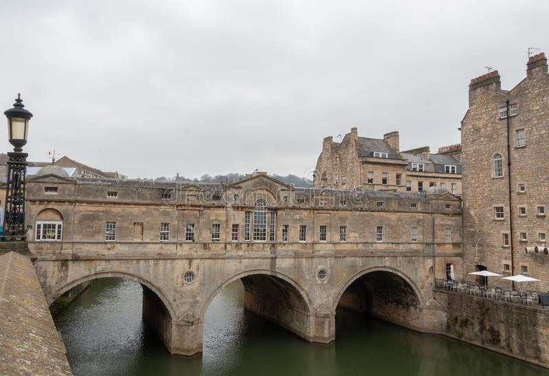 Pulteney bridge in Bath on a cloudy day royalty free stock photography