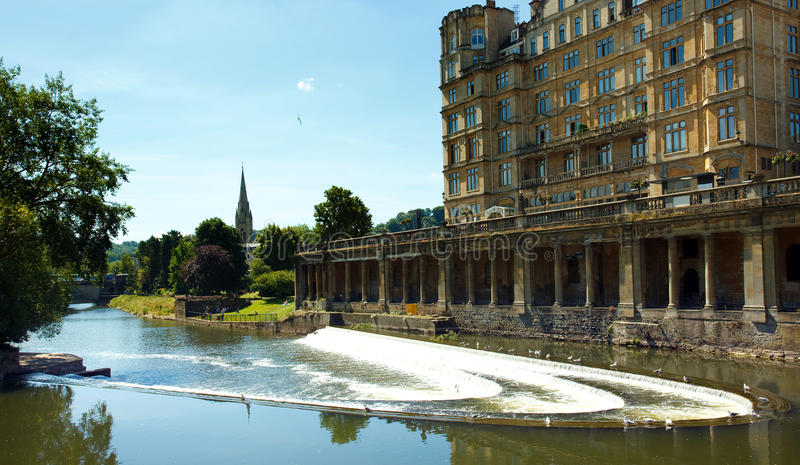 The Pulteney weir in Bath royalty free stock photo