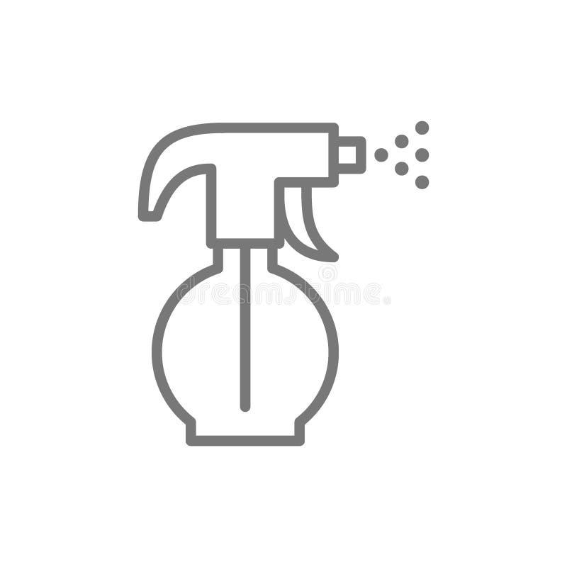 Pulvérisateur, arroseuse, ligne icône de bouteille de jet d'eau illustration de vecteur