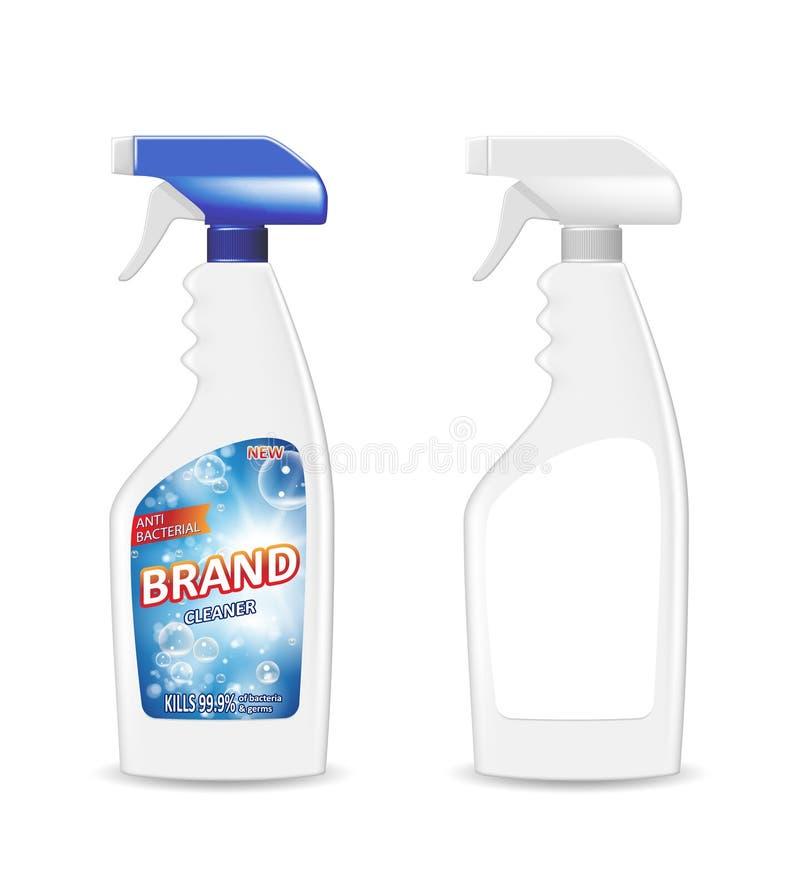 Pulvérisez la bouteille en plastique de décapant de pistolet avec le détergent pour la salle de bains Annonce de décapant de sall illustration stock