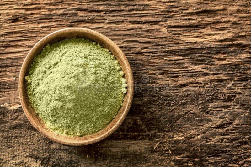 Pulver för grönt te arkivbilder