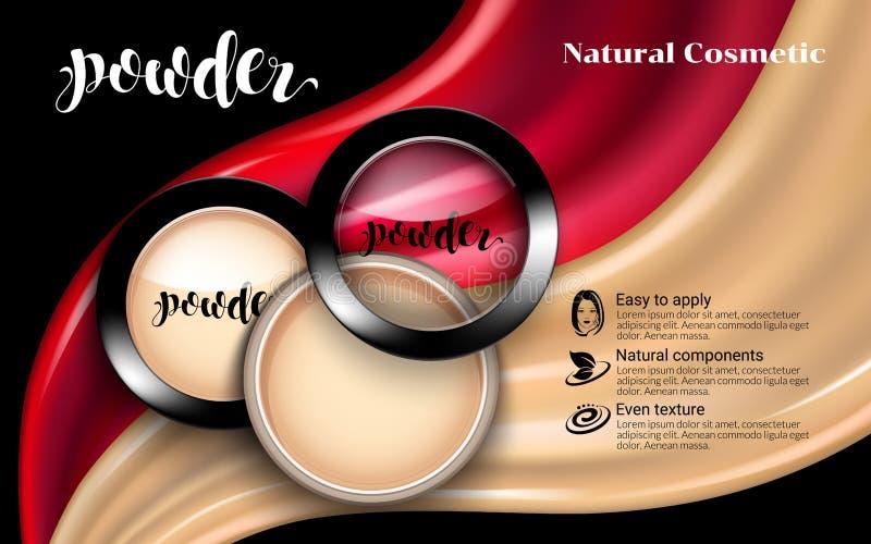 Pulver för makeup för glamorös modeframsida kosmetiskt i sikt för plast- fall för svartrunda bästa textur för flödande flytande S vektor illustrationer