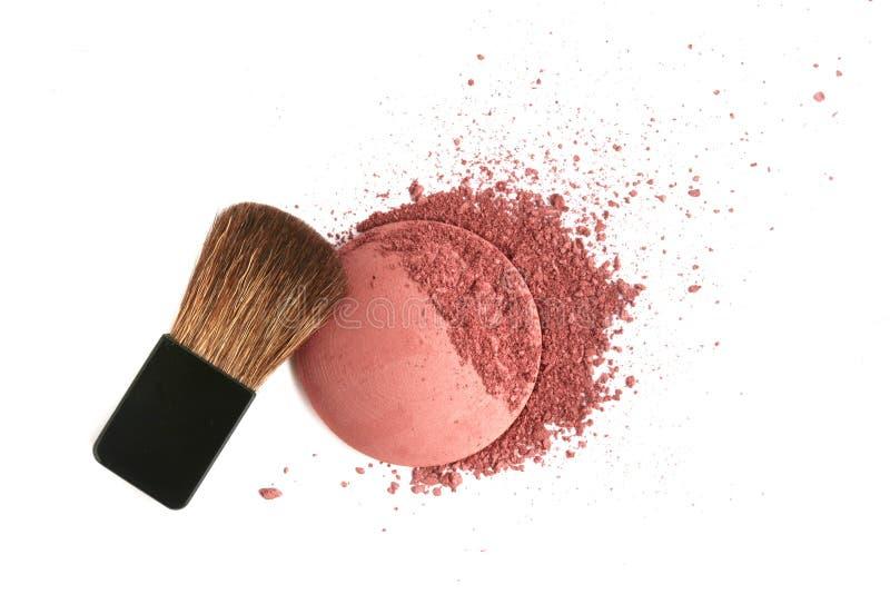 pulver för palett för rodnadborstecosmetic krossat royaltyfri foto