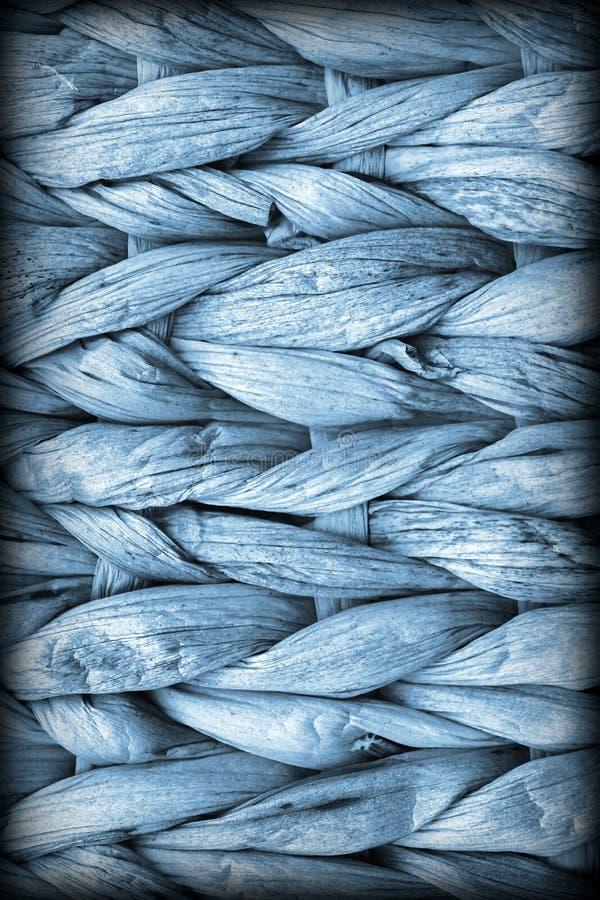 Pulverblått gömma i handflatan detaljen för textur för fiberställeMat Coarse Plaiting Rustic Vignetted Grunge fotografering för bildbyråer