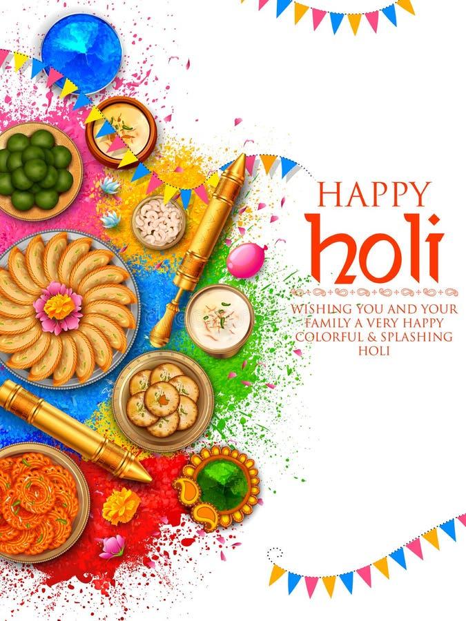 Pulverfarbe gulal für glücklichen Holi-Hintergrund lizenzfreie abbildung