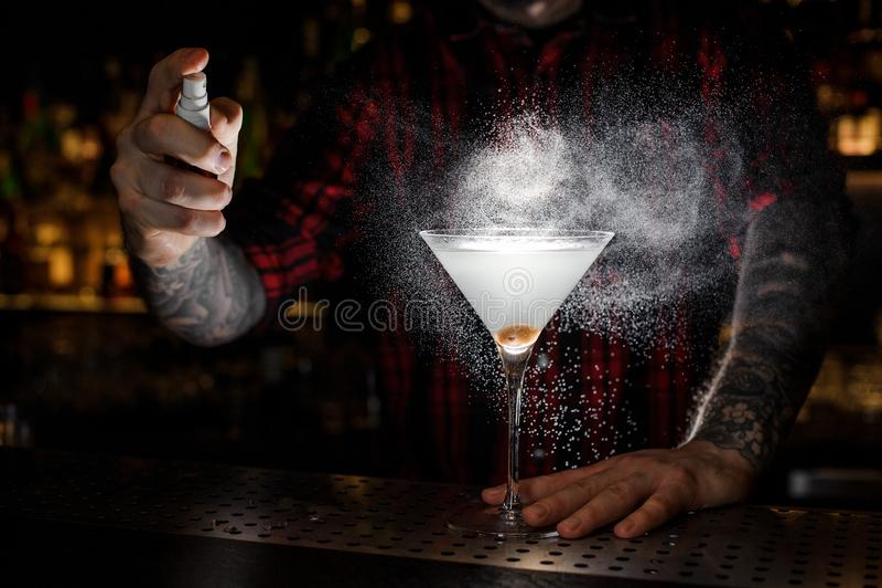 Pulverização do empregado de bar amarga no vidro com o martini fresco e saboroso foto de stock royalty free
