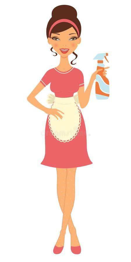 Pulverizador bonito da limpeza da terra arrendada da dona de casa ilustração do vetor