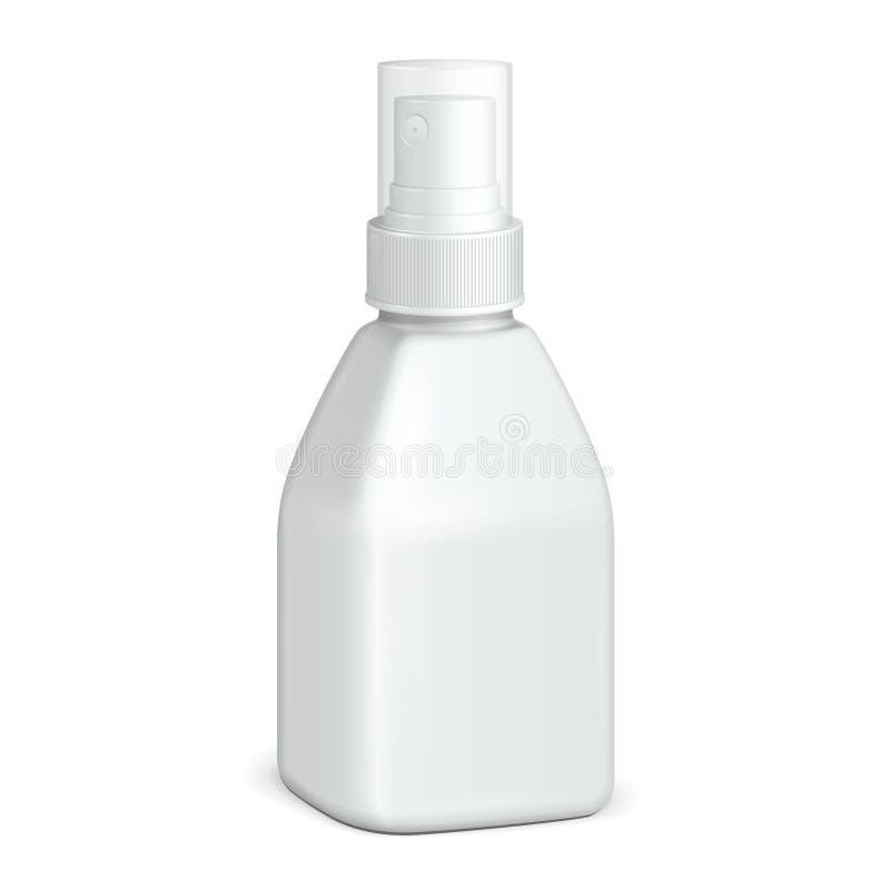 Pulverizador branco plástico quadrado cosmético da garrafa de Parfume, de desodorizante, de refrogerador ou das drogas antissépti ilustração royalty free