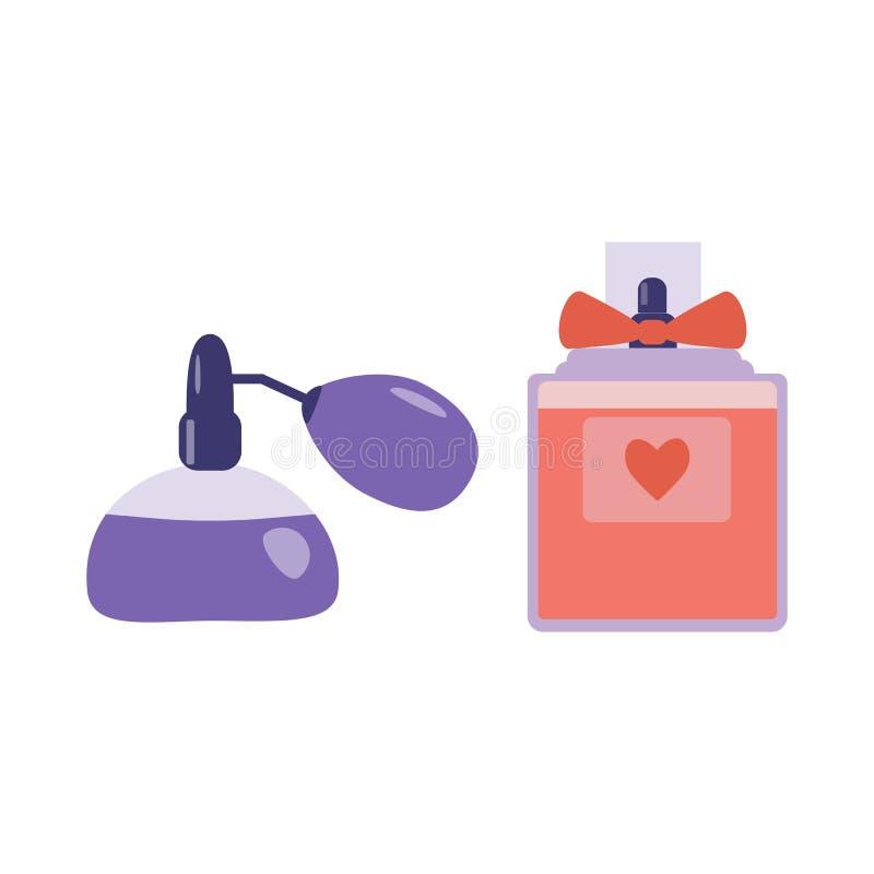 Pulverizador de perfume com ícones do atomizador ilustração do vetor